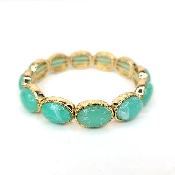 Monet Mint Cabochon Stretch Bracelet Green White